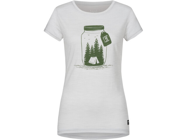 super.natural Printed Tee Women light grey melange/millitarycamping jar
